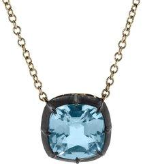 cushion blue topaz collet signature pendant necklace