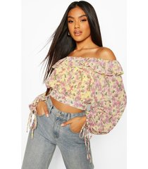 woven floral ruffle off the shoulder top, yellow