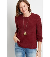 maurices womens solid teddy step hem pullover sweater red