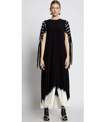 proenza schouler tie dye fringe gathered dress black multi 4