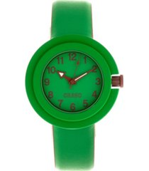 crayo unisex equinox green, brown leatherette strap watch 40mm