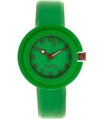 crayo unisex equinox green, brown leatherette strap watch 40mm