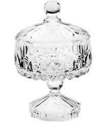 vaso potiche cristal com pé wolff 11x18cm louise transparente