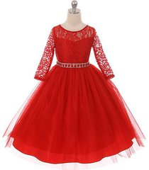 red long sleeve stretchy lace bodice tulle skirt with belt flower girl dress