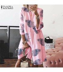 zanzea verano de las mujeres suelta holgada hoja impresa vestido de tirantes de la llamarada oscilación camisa de vestir de tamaño extra grande -rosado
