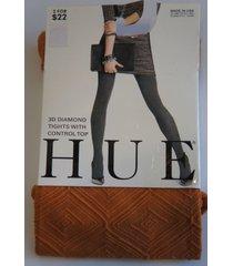 hue tights sz 1 havana orange 3d diamond tights with control top style # 13634