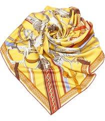 hermes concours detriers silk scarf yellow, multi sz: