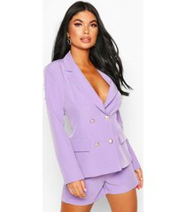 petite double breasted blazer, lilac