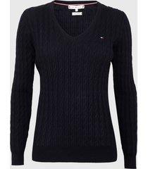 sweater tommy hilfiger azul - calce ajustado