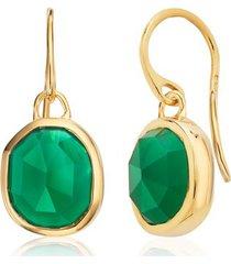 siren green onyx wire earrings, gold vermeil on silver