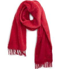 women's max mara allegra teddy scarf, size one size - red
