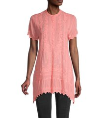 johnny was women's liesse embroidered tunic - coral sunset - size s