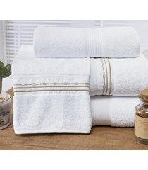 jogo de toalhas (banho e rosto) super grande coleção antilhas branco e palha algodão 200 fios com 5 peças - bernadete casa