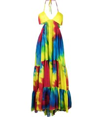 alexandre vauthier tie-dye high-low babydoll dress