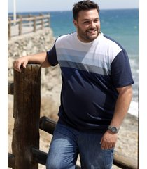 t-shirt men plus vit::ljusblå::marinblå