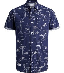 overhemd met korte mouwen bedrukt zomers linnen