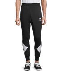 puma women's colorblock cotton-blend jogger pants - black - size m