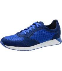sapatãªnis saullo jogging fit couro/nylow azul - azul - masculino - dafiti