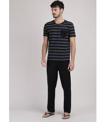 pijama masculino camiseta listrada manga curta com bolso + calça preta