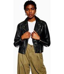 black leather biker jacket - black