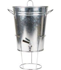 mind reader 3 gallon galvanized metal cold beverage dispenser, silver