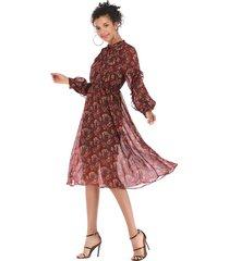 vestido de chifón floral de otoño e invierno para mujer con vestido mujer
