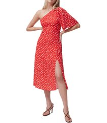 french connection fayloa floral-print one-shoulder midi dress