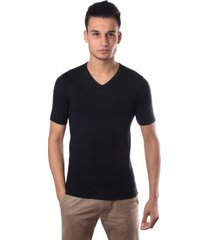 schiesser men stretch t-shirt v-neck black