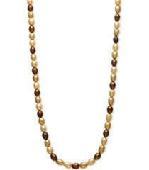 "dyed multi chocolate cultured freshwater pearl (7mm) 54"" endless strand necklace"