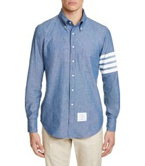men's thom browne straight fit stripe chambray sport shirt, size 2 - blue