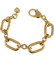máxi pulseira feminina elos banhada a ouro 18k maria trevo - dourado