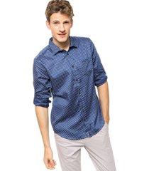 camisa azul calvin klein l/s midscale dot twill rollup
