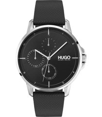men's hugo leather strap watch, 42mm