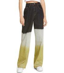 women's by. dyln claude high waist wide leg jeans, size medium - green