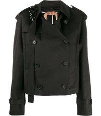nº21 trench coat com aplicações - preto