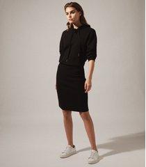 reiss jodie - knitted hoodie dress in black, womens, size xl