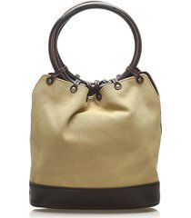 gucci ring handle canvas handbag brown, beige, black sz: m