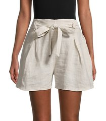saks fifth avenue women's belted linen shorts - black white stripe - size s