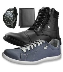 kit bota casual neway preto + sapatênis sw chumbo + relógio + carteira slim