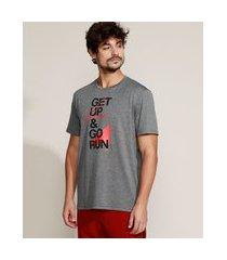 "camiseta masculina esportiva ace  get up & go run"" manga curta gola careca cinza"""