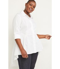 lane bryant women's convertible sleeve extreme peplum tunic 20p white