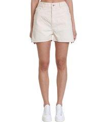 jil sander workwear shorts in beige denim