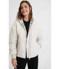 padded jacket fleece hood - white - xxl