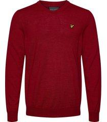 golf v neck pullover stickad tröja v-krage röd lyle & scott sport