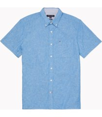 tommy hilfiger adaptive men's custom-fit seated porter textured shirt with velcro closures