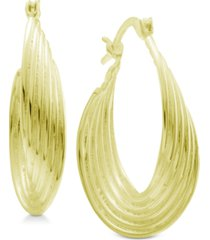 essentials multi-layer twisted oval medium hoop in fine silver plate earrings