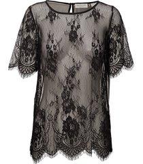 blouse ss blouses short-sleeved svart rosemunde