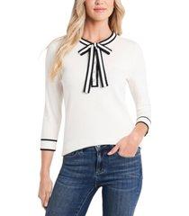 cece cotton henley tie-neck pullover sweater