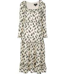 misha silk mid-length dress
