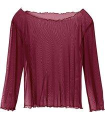 transparant zijden shirt, portowijn 36/38